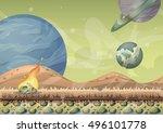 cartoon vector landscape with... | Shutterstock .eps vector #496101778