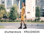 beautiful young girl dressed in ... | Shutterstock . vector #496104034