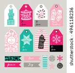 christmas gift tags and labels... | Shutterstock .eps vector #496118236
