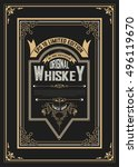 old vintage whiskey label design | Shutterstock .eps vector #496119670