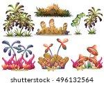 cartoon vector nature landscape ... | Shutterstock .eps vector #496132564