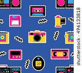 retro devices seamless pattern. ... | Shutterstock .eps vector #496133818
