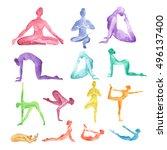 watercolor yoga set on white...   Shutterstock . vector #496137400