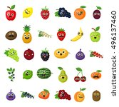 happy smiling fruits on white... | Shutterstock . vector #496137460