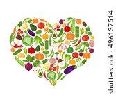 heart shaped vegetables set on... | Shutterstock . vector #496137514