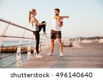 young man and beautiful woman... | Shutterstock . vector #496140640