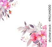 watercolor garden floral... | Shutterstock . vector #496144000