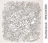 cartoon cute doodles hand drawn ... | Shutterstock .eps vector #496144384