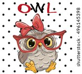 cute cartoon owl with glasses... | Shutterstock .eps vector #496145398