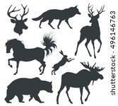 set with animals silhouettes.... | Shutterstock .eps vector #496146763