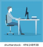 correct sitting posture at... | Shutterstock . vector #496148938