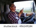 senior man driving a truck and...   Shutterstock . vector #496149184
