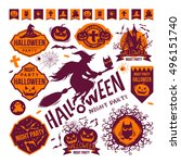halloween set labels. halloween ... | Shutterstock .eps vector #496151740