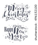 happy new year and merry... | Shutterstock .eps vector #496152100