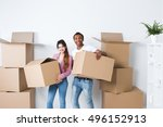 couple moving in house.... | Shutterstock . vector #496152913
