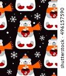 vector winter holiday seamless...   Shutterstock .eps vector #496157590