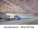 trucker hauling lumber on an... | Shutterstock . vector #496159768