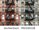 old brick apartment buildings... | Shutterstock . vector #496160128
