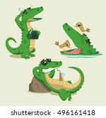 crocodile cartoon vector set  | Shutterstock .eps vector #496161418