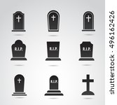 Grave Icon Set Isolated On...