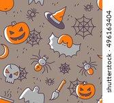 halloween seamless pattern with ... | Shutterstock .eps vector #496163404