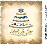 new year tree in a marine style ... | Shutterstock .eps vector #496164394