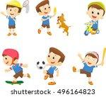 collection of happy cartoon boy ... | Shutterstock .eps vector #496164823