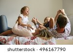 family with two children having ... | Shutterstock . vector #496167790