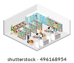 isometric interior of grocery... | Shutterstock .eps vector #496168954