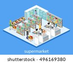isometric interior of grocery... | Shutterstock .eps vector #496169380