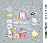 christmas greeting set. merry... | Shutterstock .eps vector #496175728