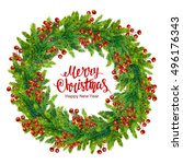 merry christmas text with... | Shutterstock . vector #496176343