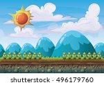 cartoon vector nature landscape ... | Shutterstock .eps vector #496179760