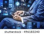 businessman in data management...   Shutterstock . vector #496183240