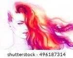 woman portrait. fashion... | Shutterstock . vector #496187314