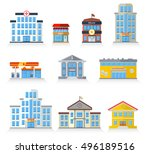 flat building fronts of... | Shutterstock .eps vector #496189516