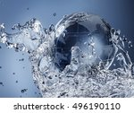 glass globe planet in drop... | Shutterstock . vector #496190110
