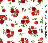 Stock vector vector seamless pattern with red roses branches on a white background 496202623