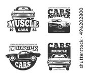 classic muscle car vintage... | Shutterstock .eps vector #496202800