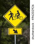bicycles and pedestrians yellow ... | Shutterstock . vector #496202926