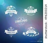 merry christmas lettering... | Shutterstock .eps vector #496203214