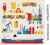 oil industry decorative icons... | Shutterstock .eps vector #496205974