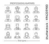 professions avatars line icon... | Shutterstock .eps vector #496205980