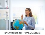 laughing woman pointing to... | Shutterstock . vector #496206838