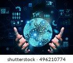 hand holding technology | Shutterstock . vector #496210774