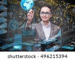 businesswoman in global...   Shutterstock . vector #496215394