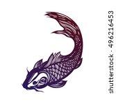 fish koi carp. chinese symbol... | Shutterstock .eps vector #496216453