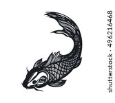 fish koi carp. chinese symbol... | Shutterstock .eps vector #496216468