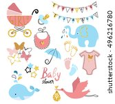 baby shower set. collection of... | Shutterstock . vector #496216780