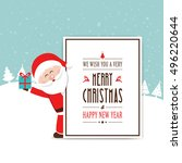 santa hold gift behind... | Shutterstock .eps vector #496220644